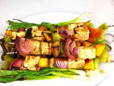 Green Zone Fitness Summer Tofu & Peach Skewers